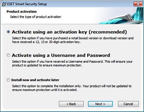 ESET Antivirus Activation
