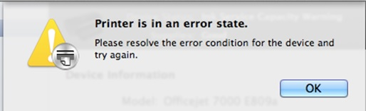 Canon Printer is in an error state