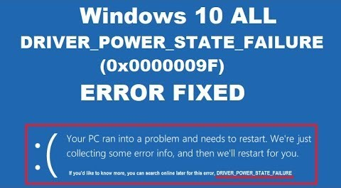 Hp Driver Power State Failure Error
