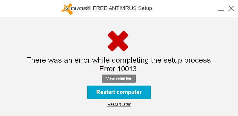 Avast Error 10013