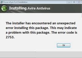 Avira Antivirus Error Code 2753