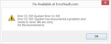 Quicken Error CC-501