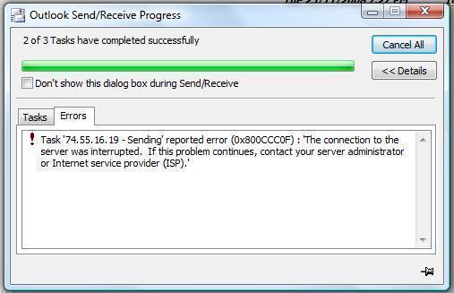 Outlook error 0x800ccc0f